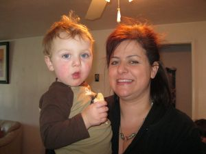 Grandma and bubba....we both are sporting wild hair.